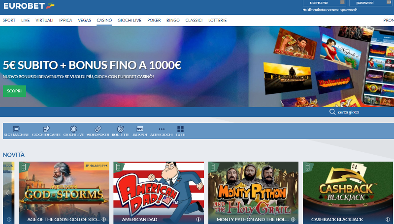Eurobet Casino Screenshot